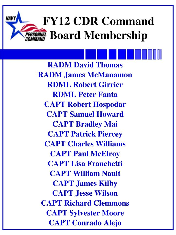 Fy12 cdr command board membership