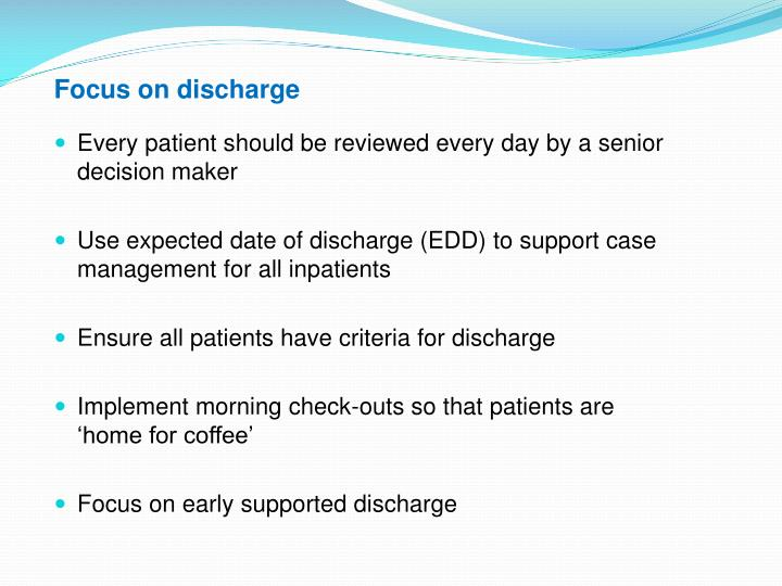 Focus on discharge