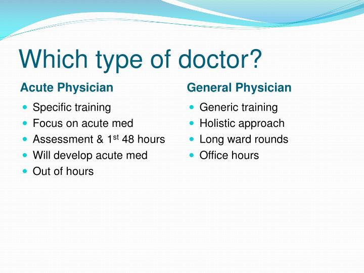 Which type of doctor?