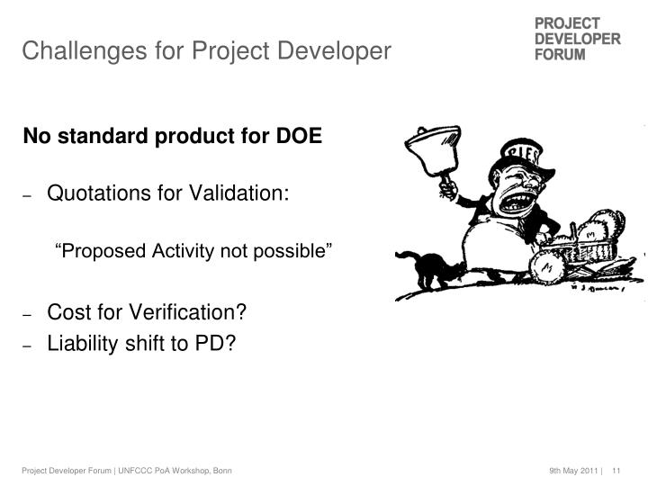 Challenges for Project Developer