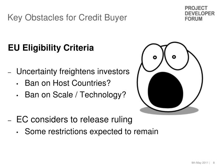 Key Obstacles for Credit Buyer