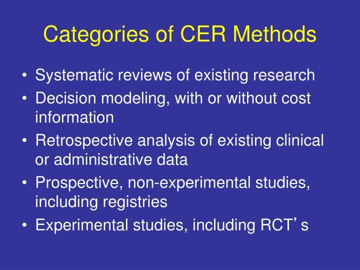 Categories of CER Methods