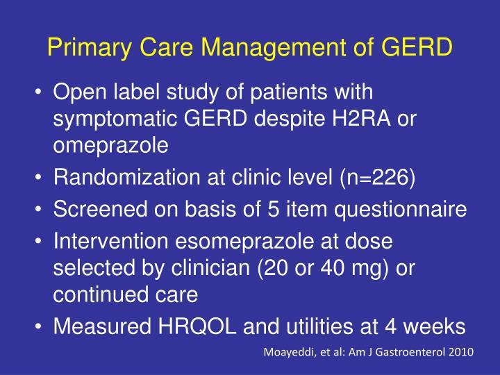 Primary Care Management of GERD