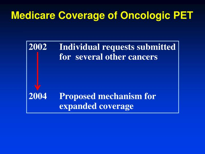 Medicare Coverage of Oncologic PET