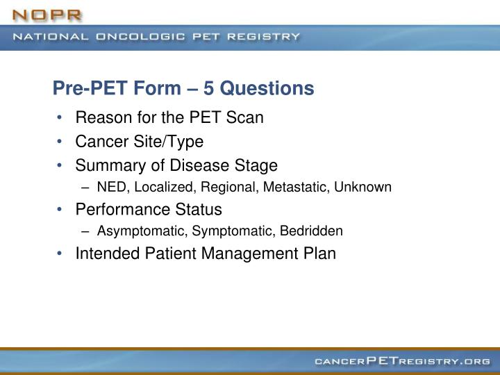 Pre-PET Form – 5 Questions