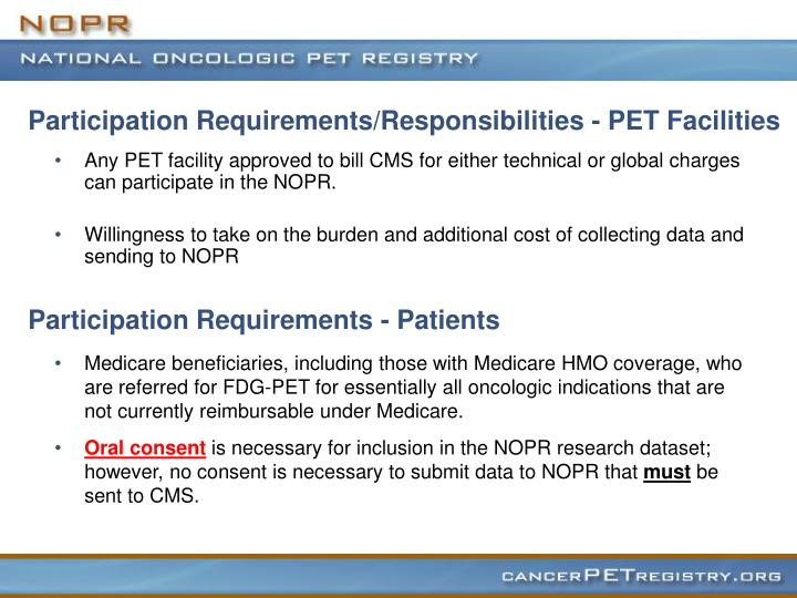 Participation Requirements/Responsibilities - PET Facilities