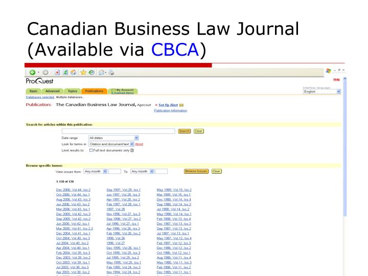 Canadian Business Law Journal