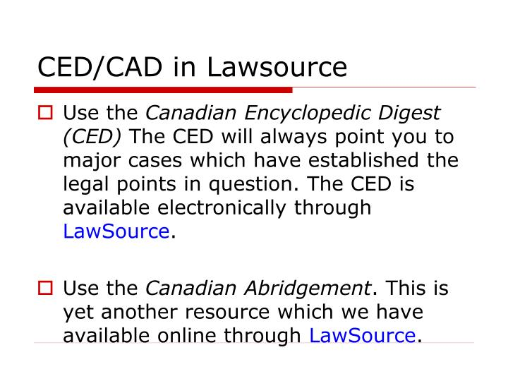 CED/CAD in Lawsource