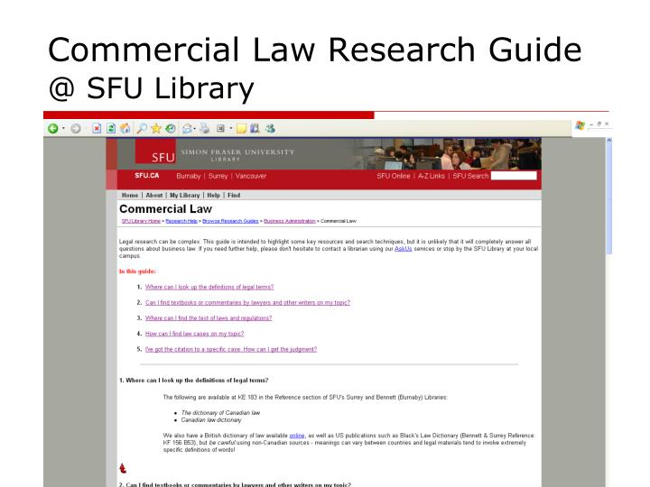 Commercial Law Research Guide