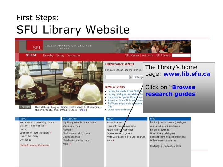 First steps sfu library website