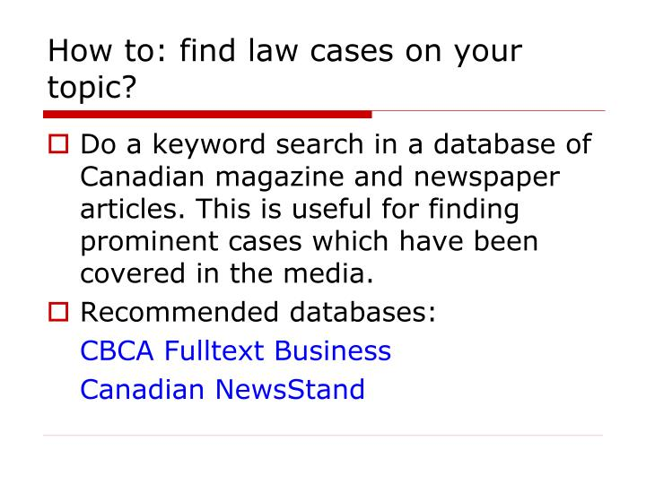 How to: find law cases on your topic?