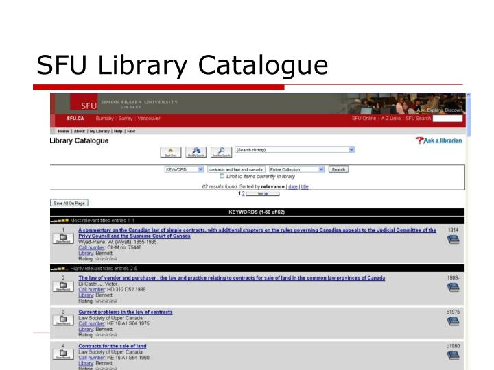 SFU Library Catalogue
