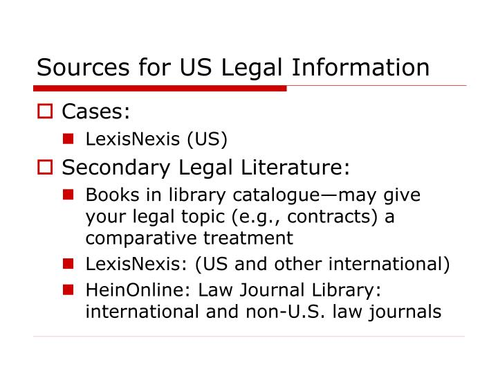 Sources for US Legal Information
