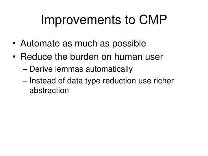 Improvements to CMP