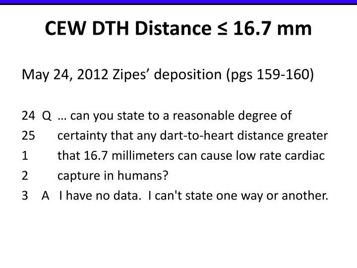 CEW DTH Distance ≤ 16.7 mm