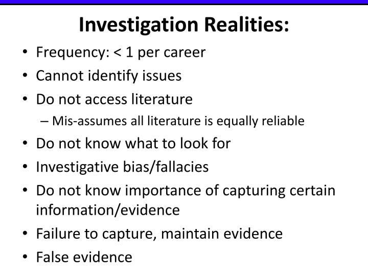 Investigation Realities: