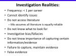 investigation realities