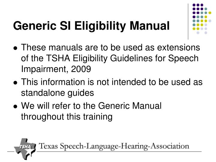Generic SI Eligibility Manual