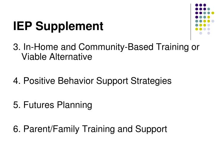 IEP Supplement