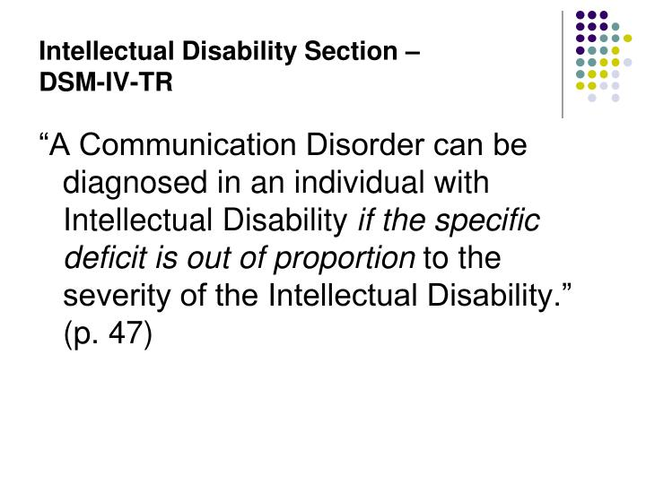Intellectual Disability Section –