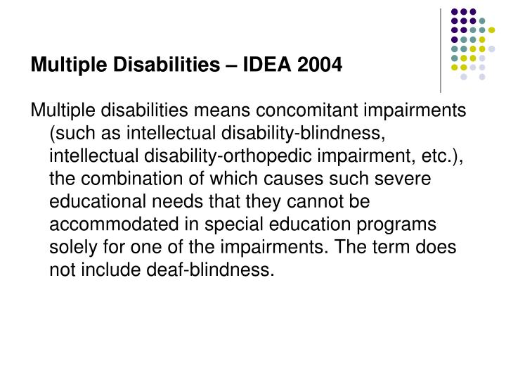 Multiple Disabilities – IDEA 2004