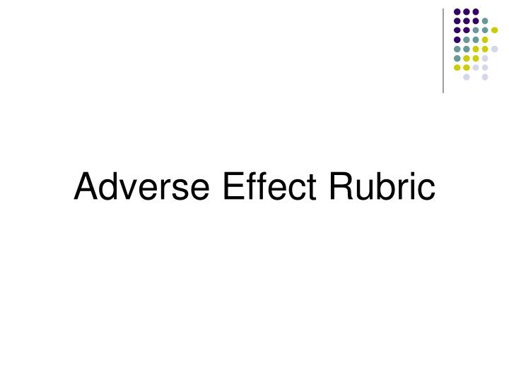 Adverse Effect Rubric