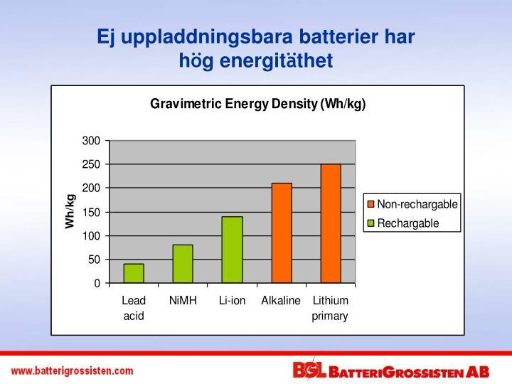Ej uppladdningsbara batterier har