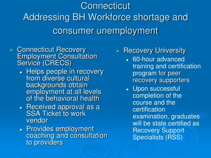 Connecticut Recovery Employment Consultation Service (CRECS)