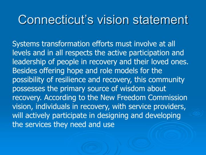 Connecticut s vision statement