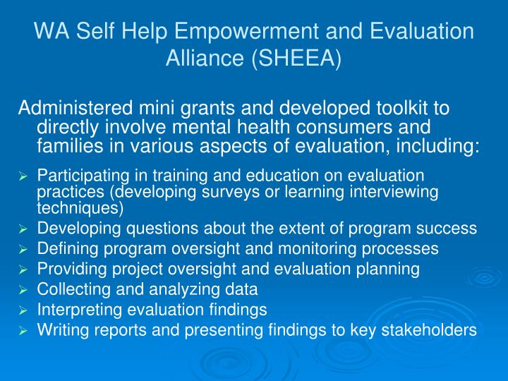 WA Self Help Empowerment and Evaluation Alliance (SHEEA)