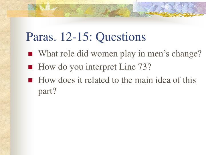 Paras. 12-15: Questions