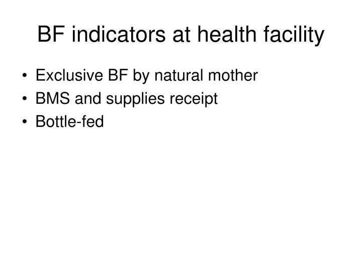 BF indicators at health facility