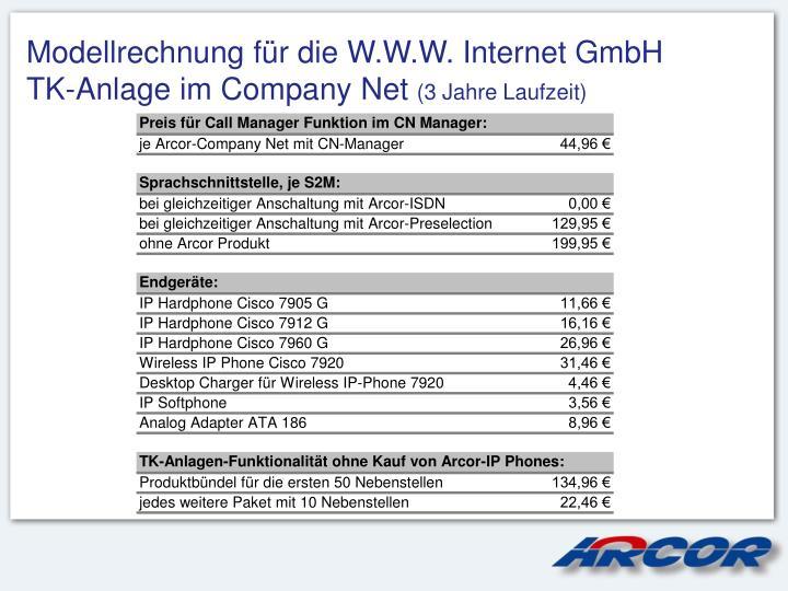 Modellrechnung für die W.W.W. Internet GmbH