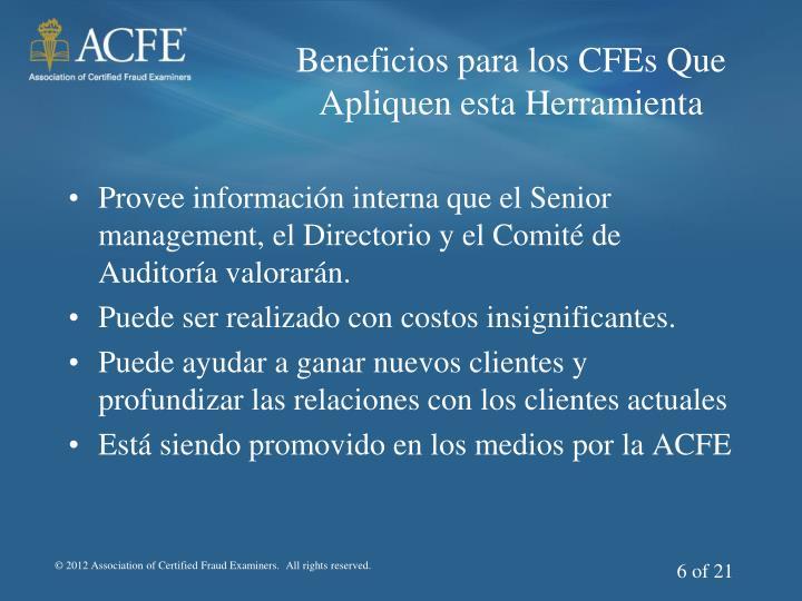 Beneficios para los CFEs Que Apliquen esta Herramienta
