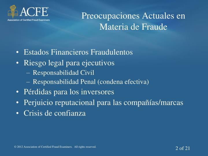 Preocupaciones Actuales en Materia de Fraude