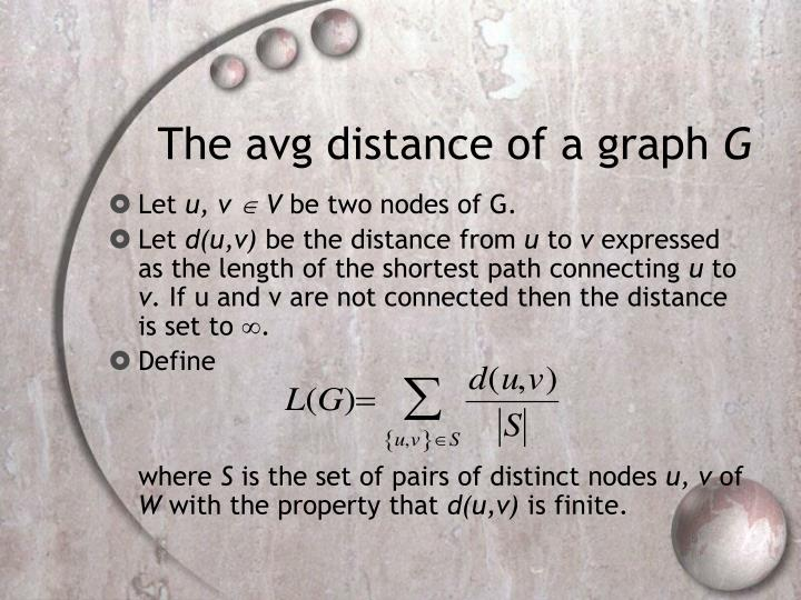 The avg distance of a graph