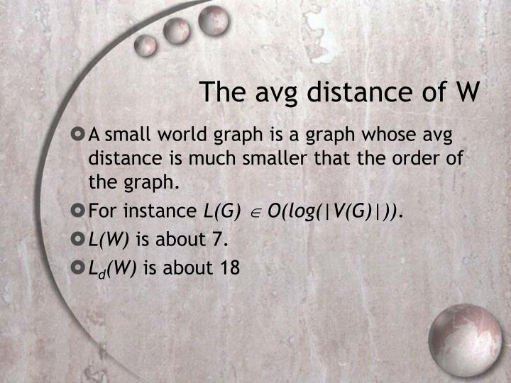 The avg distance of W