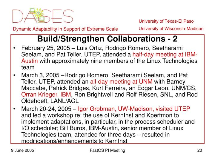 Build/Strengthen Collaborations - 2