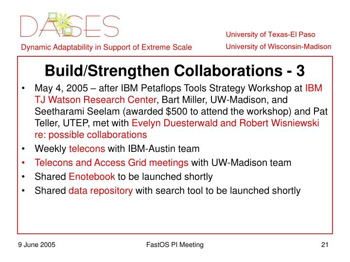 Build/Strengthen Collaborations - 3