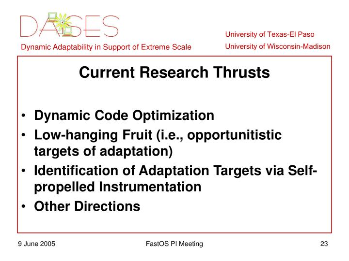 Current Research Thrusts