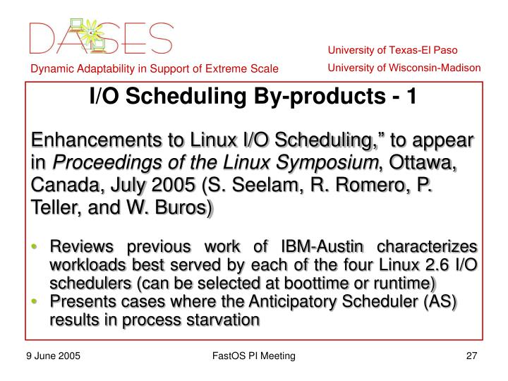 I/O Scheduling By-products - 1