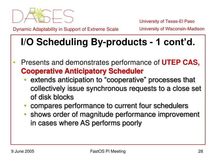 I/O Scheduling By-products - 1 cont'd.