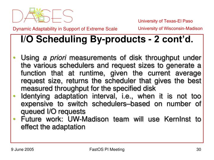 I/O Scheduling By-products - 2 cont'd.