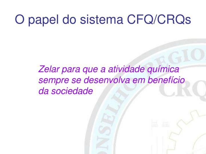O papel do sistema CFQ/CRQs