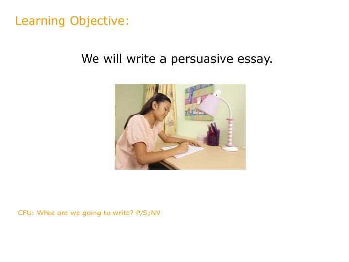 objectives for writing a persuasive essay