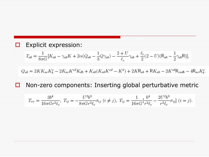 Explicit expression: