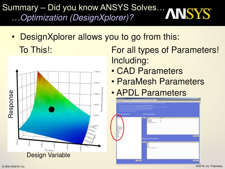 Summary did you know ansys solves optimization designxplorer