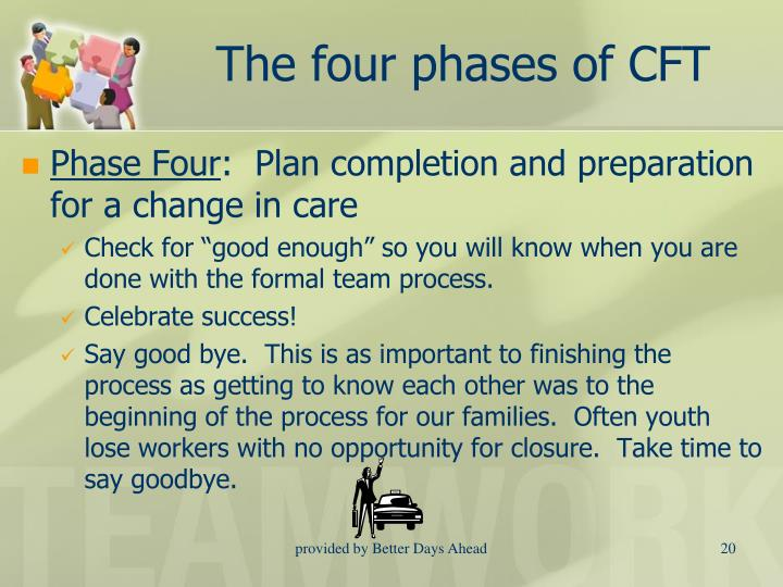 The four phases of CFT
