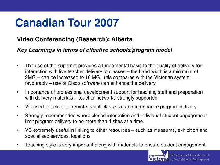 Canadian Tour 2007