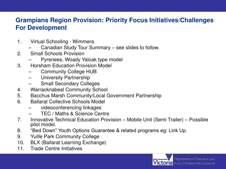 Grampians Region Provision: Priority Focus Initiatives/Challenges For Development